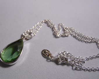 Silver Tone Necklace with Lime green glass stone Pendant