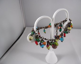 Brass Color Metal Charm Chain Bracelet With Glass Beads And Metal charms