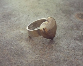 Mexican Silver Heart Ring- Size 6.5  Chunky Jewelry