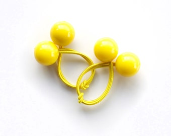 YELLOW BOBBLES. Hair ties. Elastic hair ties. Funky. Red. Retro style hair bobbles.