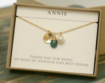 Personalized bridesmaid gifts, emerald necklace gold, bridesmaid necklace, personalized birthstone necklace - Ella