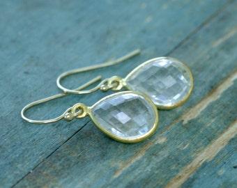 Crystal bridal earrings gold bridal earrings, rock crystal jewelry, gold earrings wedding, bridesmaid earrings gold - Amy