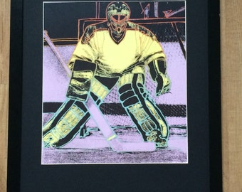 "Framed and Mounted 80s Retro NHL Ice Hockey Print - 16"" x 20"""