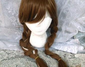 Anna Wig, Princess Wig, long braided wig, white streak, cosplay wig, adjustable, bangs, braids, anna costume, anna cosplay, light brown wig