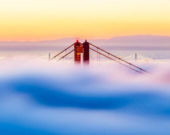 San Francisco Print - Golden Gate Bridge Photograph - Romantic San Fran Art - Landscape Photo - Sunrise Print - San Francisco California Art
