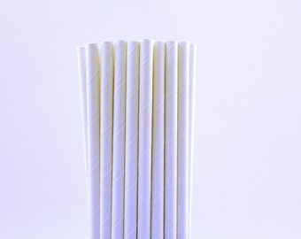 Solid White Paper Straws-White Wedding Straws-Winter Birthday Straws-White Paper Straws-Solid Party Straws-Hot Chocolate Paper Straws