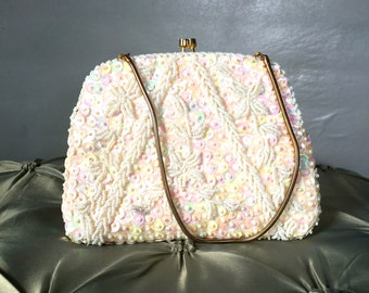 Vintage White Beaded evening Bag with Gold Chain Handle