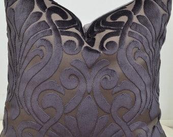 Grey Velvet Pillow Cover,Grey Pillow Cover, Designer Pillow Cover,Designer Fabric Pillow Cover,Charcoal Pillow Cover