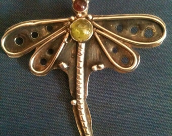 Dragonfly pendant and tourmaline