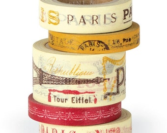 Cavallini & Co. Vintage Paris Decorative Paper Tape, 5 Rolls in a Keepsake Tin