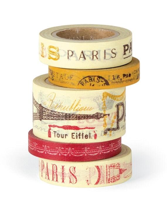 Cavallini co vintage paris decorative paper tape 5 rolls for Decorative paper rolls