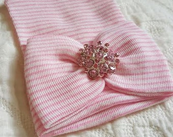 Pink and White Hospital Newborn Beanie with matching  Bow. Now with added Sparkle!  Large 3D Rhinestone. Newborn Hat, Baby Girl Hospital Hat