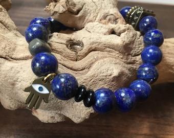 Lapis Beaded Bracelet w/ Hamsa and Pyrite