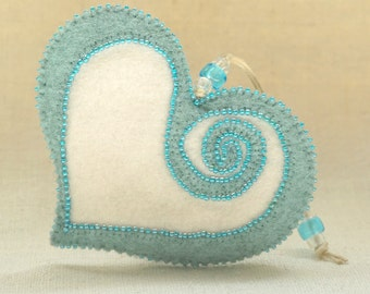 Beaded Mint Blue and White Wool Felt Heart Ornament #1, Mother's Day Heart, Wedding Favor, Proposal Idea, Anniversary Gift *Ready to ship