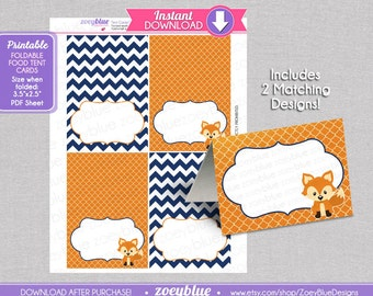 Fox recipe cards etsy fox blank food tent cards navy orange boy birthday labels buffet tags name place cards foldable forumfinder Choice Image