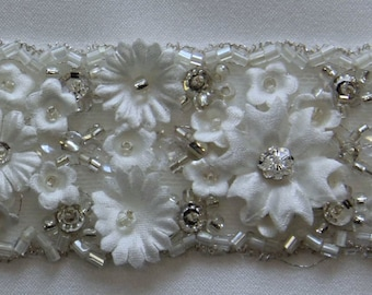 Flower and crystal couture quality trim - sold and priced  per half yard