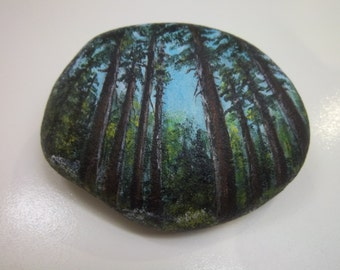 Forest of Trees  Original Acrylic Handpainted on Rock