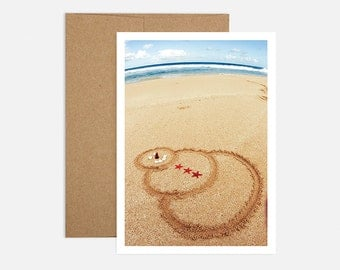 SALE - Sand Snowman Holiday Greeting Card