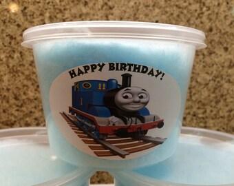 Thomas the train favors / 12 Cotton candy favors (16 oz)