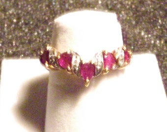 Women's Ruby and Diamond ring  14K Solid Gold (2055FJ)