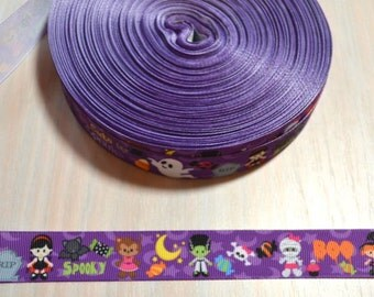 7/8 inch Grosgrain Ribbon - Halloween, Purple Characters