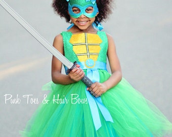 Teenage mutant ninja turtle costume- tmnt costume- blue tmnt dress- tmnt tutu dress-tmnt tutu-leonardo costume