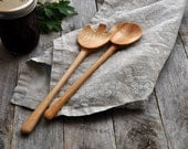 Handmade wooden salad server set made from Alder