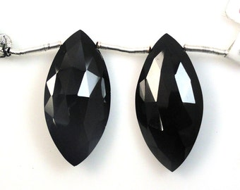 30x15mm Black Spinel Marquise Drops Excellent Jet Black Color Extraordinary Luste (4139)