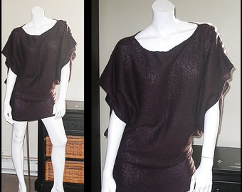 Artsy Cabi Lagenlook Woodland Brown Oversized Longer Tunic Sweater Pullover Sweater Size M/L