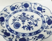 "RESERVED FOR TAMMY Johnson Brothers Flow Blue ""Holland"" Large China Oval Serving Platter, Vintage Blue Onion Pattern"