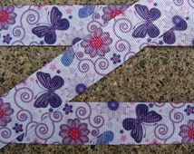 "3 yards Summer Flowers and butterfly Ribbon Grosgrain Printed Ribbon 7/8"" inch Hair Bow Ribbon crafts supplies"