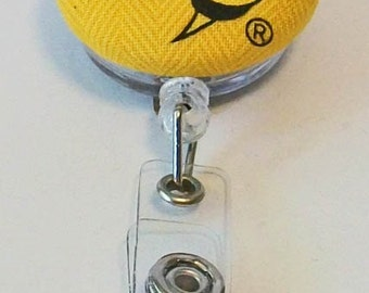 Fun Gold and Black Yellow Jackets Fabric Button Retractable Badge Reel Clip
