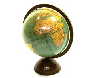1930s 7 inch George F. Cram Co. Terrestrial World Globe Desktop Library Globe