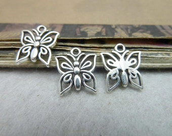25 pcs 12x15mm  Antique Silver Butterfly Charms Pendant