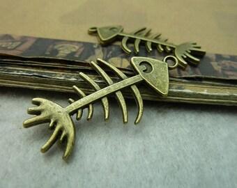 10pcs 21x42mm  Antique Bronze Fish Bone Charm Pendant--fish