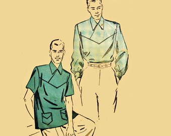 Vintage 50s Mens Shirt Pattern / Retro Shirt Pattern Retro Rockabilly Shirt Long or Short Sleeve / Mens Sewing Pattern Advance 5062 38 - 40