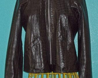 "80s ""Please"" Brown Crocodile-Embossed Italian Leather Ladies Jacket — Size Small"