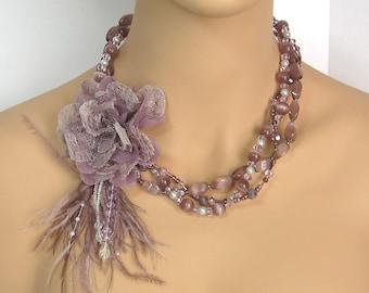 SALE! Multi-Strand Lavender & Mauve Flower Brooch Necklace for Wedding, Prom, Formal Wear