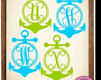 Anchor Vinyl Monogram Decals Stickers - Custom Decal, Car Decal, Car Initials Vinyl Initials, Vinyl Lettering (Various Sizes)