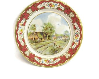 Daher Decorated Ware Metal Plate - Made in Holland