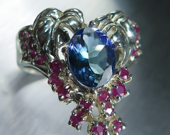 1.65ct Natural Tanzanite purple blue 8.80x7mm oval cut & rubies sterling 925 Silver autumn bouquet ring all sizes