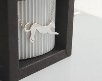 Handmade Silver Greyhound Pendant.
