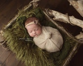 """SMALL (18""""x20"""")  Moss Green Curly Faux Fur, Newborn Photography Props, Curly Lama Fur, Props for Babies, Newborn Photo Props, Fur Fabric"""
