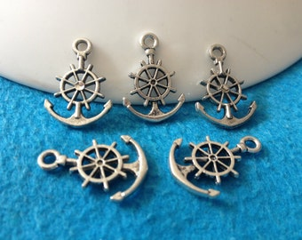 100pc antique silver rudder anchor charms pendant 21mmx14mm