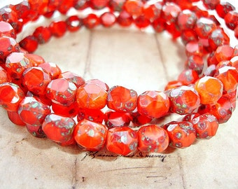 10 Fiery Red Central Cut Faceted Nugget Beads 8 mm