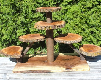 Large Log Elm Wood Rustic Cake 90 Cupcakes Pie Stand Wedding shower wooden 7 tiered Collapsible, lumberjack party, boho, wild things are