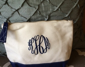 Monogrammed, personalized, embroidered, cosmetic zippered canvas bag