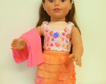Sale!/American Doll Skirt,Crop Top,Leggings,Headband/18 inch doll 4 pc set/AG Pink Skirt/Girl doll Trendy outfit/ruffle skirt/play clothes