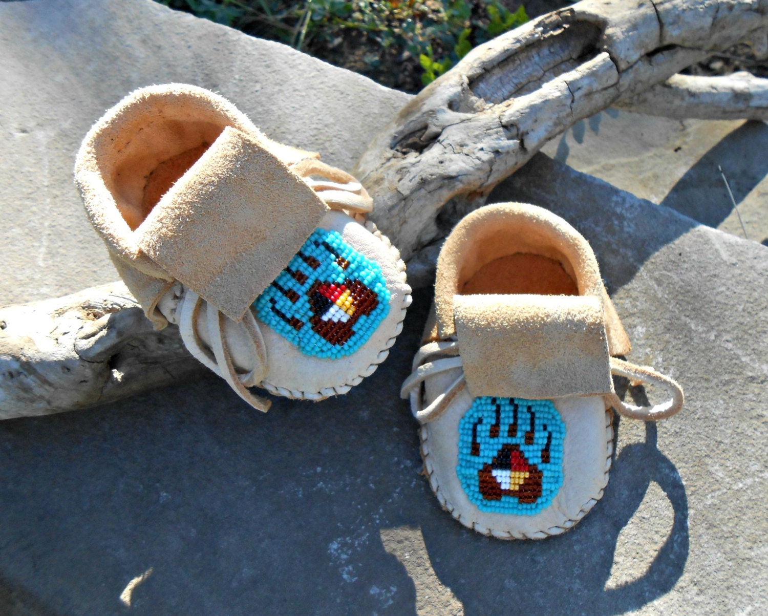 Handmade baby moccasins hand beaded infant by faemoonwolfdesigns