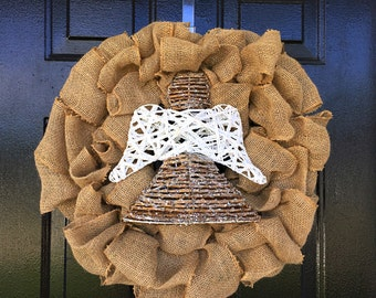 Christmas wreath, burlap wreath, angel wreath, shabby chic decor, Christmas decor, door wreath, front door wreath
